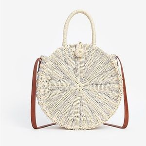 Metallic Woven Circle Crossbody Tote